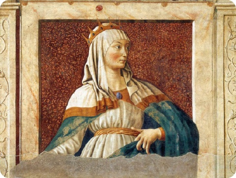 Esther decided to save her people, Judah from crisis of death./ Queen Esther - ANDREA DEL CASTAGNO c. 1450 Fresco transferred to wood. Galleria degli Uffizi, Florence